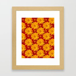A Medley of Red and Yellow Marigolds Framed Art Print
