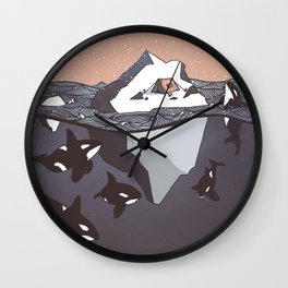 Pod of Orca (Killer Whales) spying on a small tent on an iceberg, under snowy pink sky Wall Clock