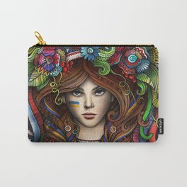 beautiful girl flower hair Carry-All Pouch
