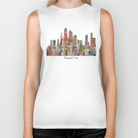 kansas city Biker Tanks featuring kansas city Missouri skyline by bri.buckley