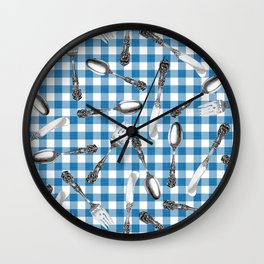 Utensils on Blue Picnic Blanket Wall Clock