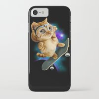 skateboard iPhone & iPod Cases featuring SKATEBOARD CAT by ADAMLAWLESS