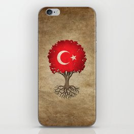 Vintage Tree of Life with Flag of Turkey iPhone Skin