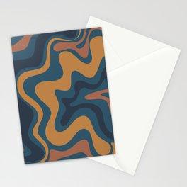 Liquid Swirl Abstract Pattern Ochre Blue Stationery Cards