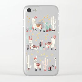 Happy llama with cactus in a pot Clear iPhone Case