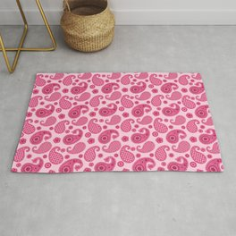 Paisley Pattern, Pastel Coral Pink and Fuchsia Rug