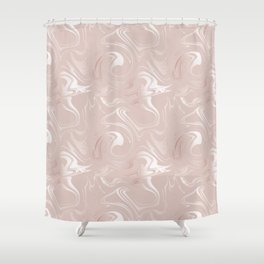 Rose gold blush marbled glittery trendy pattern Shower Curtain