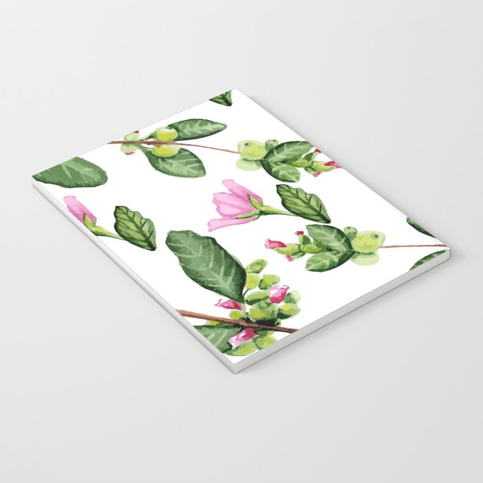 Floral pattern. Watercolor. Notebook