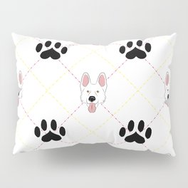 White German Shepherd Paw Print Pattern Pillow Sham