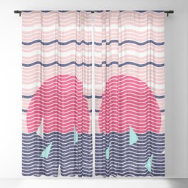 Hello Ocean Sunset Waves Sheer Curtain