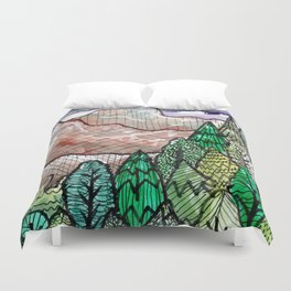 landscape forest montain pines Duvet Cover