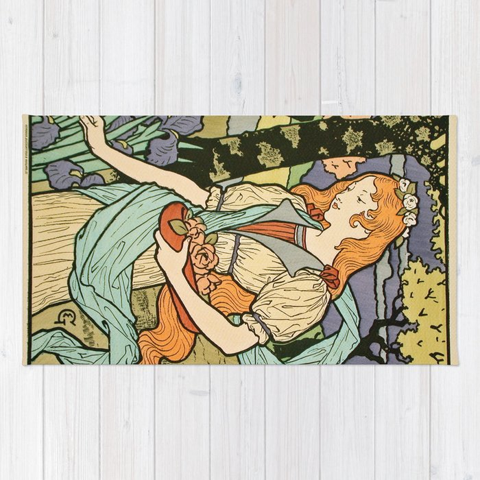 Vintage poster - Woman with flowers Rug