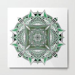 Green mandala Metal Print