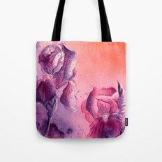Iris, Pink, Purple, Peach Flowers Tote Bag