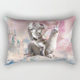 Galaxy Astronaut Sloth Riding Llama Unicorn Rectangular Pillow