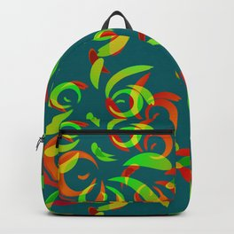 Pattern of colored doodles and curls in floral ornament in ethnic style. Backpack