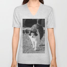 Fluffy cat in white and black Cat04A Unisex V-Neck