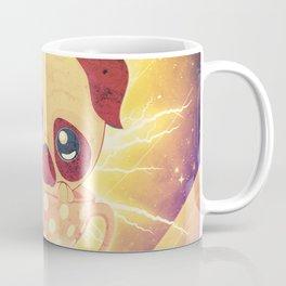 Kawaii pug flying in a cup lightings and starry texture Coffee Mug