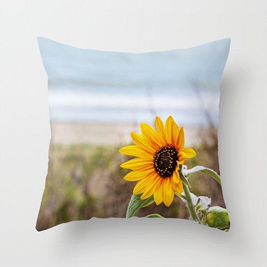 Sunflower near ocean Throw Pillow
