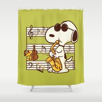woodstock Shower Curtains featuring Happiness is Music by Enkel Dika