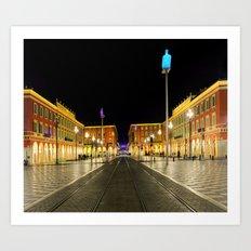 Nighttime at Place Massena in Nice Art Print