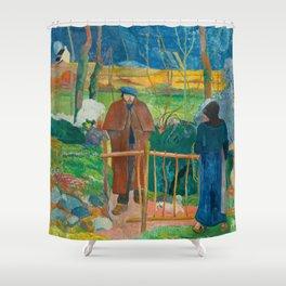 Bonjour Monsieur Gauguin (II) - Paul Gauguin (1889) Shower Curtain