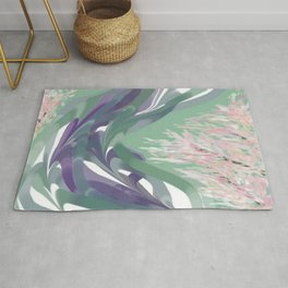 Deep Ocean River Abstract In Soft Green and Purple Rug