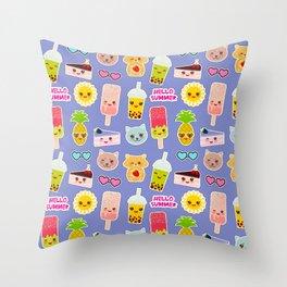 Hello Summer Pineapple, cherry smoothie cup, ice cream, sun, cat, cake, hamster. Kawaii cute face. Throw Pillow