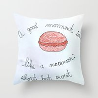 macaroon Throw Pillows featuring Sweet as a Macaroon  by Clawson Creatives