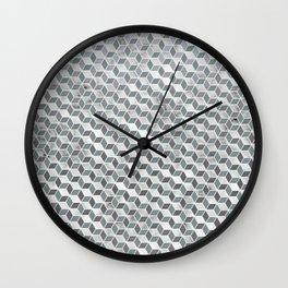 Silver Geometric Pattern Wall Clock