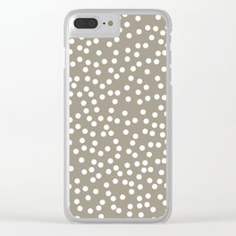 Dark Warm Gray and White Polka Dot Pattern Clear iPhone Case