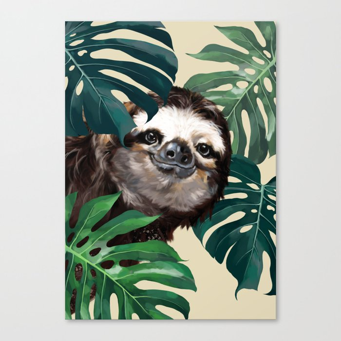 Sneaky Sloth with Monstera Canvas Print