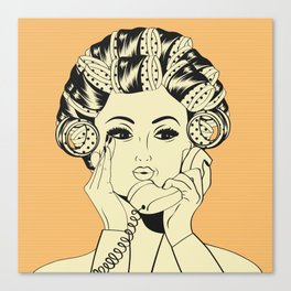 The woman with the curlers Canvas Print