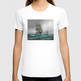 Vintage Sailing in Rough Waters Painting (1876) T-shirt