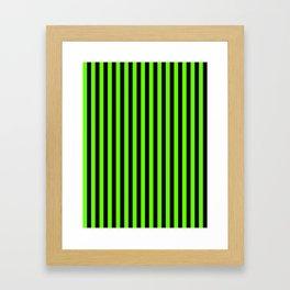Bright Green and Black Vertical Stripes Framed Art Print