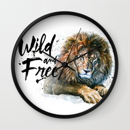 Lion Wild and Free Wall Clock