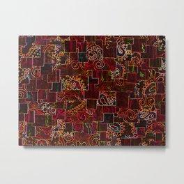 Batik Mosaic Fractal Red Metal Print