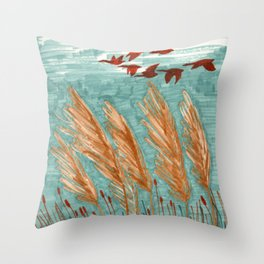 Geese Flying over Pampas Grass Throw Pillow