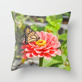 Butterfly and The Flower Throw Pillow