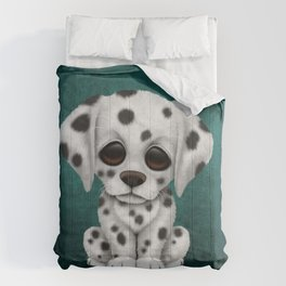 Cute Dalmatian Puppy Dog on Blue Comforters