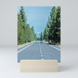 Road to the Summit // Grainy Photograph of Oregon Trip to the Snow Capped Mountain in View Mini Art Print