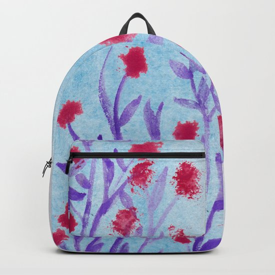 Red flowers watercolor Backpack