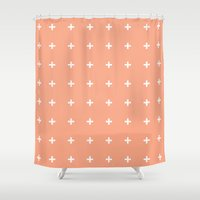 peach Shower Curtains featuring Peach Cross // Peach Plus by Pencil Me In ™