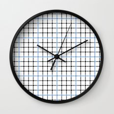 Dotted Grid Weave Blue Black Wall Clock