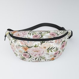 Loose Peonies & Poppies Floral Bouquet Fanny Pack