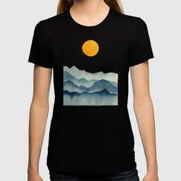 Mountain Range Silhouette – Blue & Yellow T-shirt