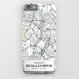 Kuala Lumpur Malaysia City Map with GPS Coordinates iPhone Case