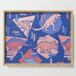 Nineties Dinosaurs Pattern  - Rose Quartz and Serenity version Serving Tray