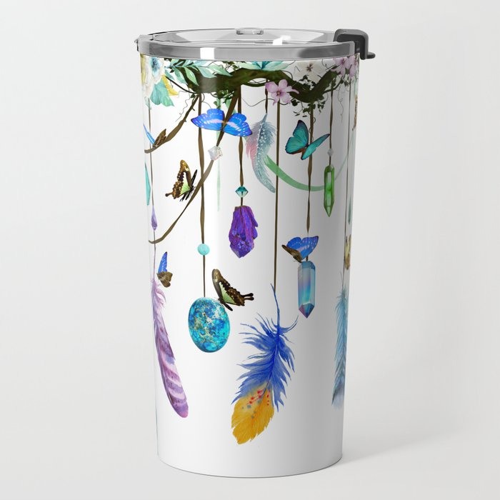 Folkestone Feather, Crystal And Butterfly Spirit Gazer Travel Mug