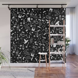 White magic alchemy symbols Wall Mural